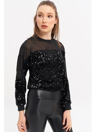 ESQ Tül Detaylı Pullu Bluz Siyah